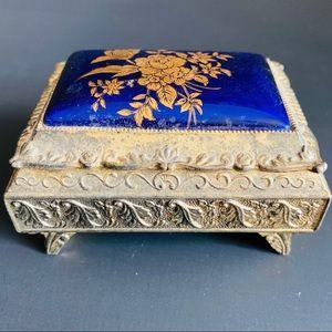 Vintage Jewelry Cobalt Enamel Gilt  Trinket box